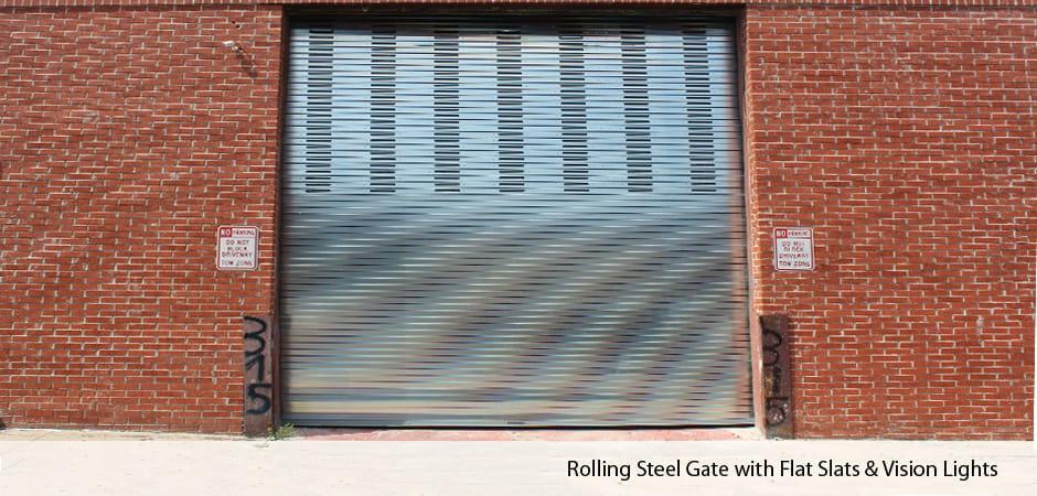 Rolling-Steel-Gate-with-Flat-Slats-&-Vision-Lights