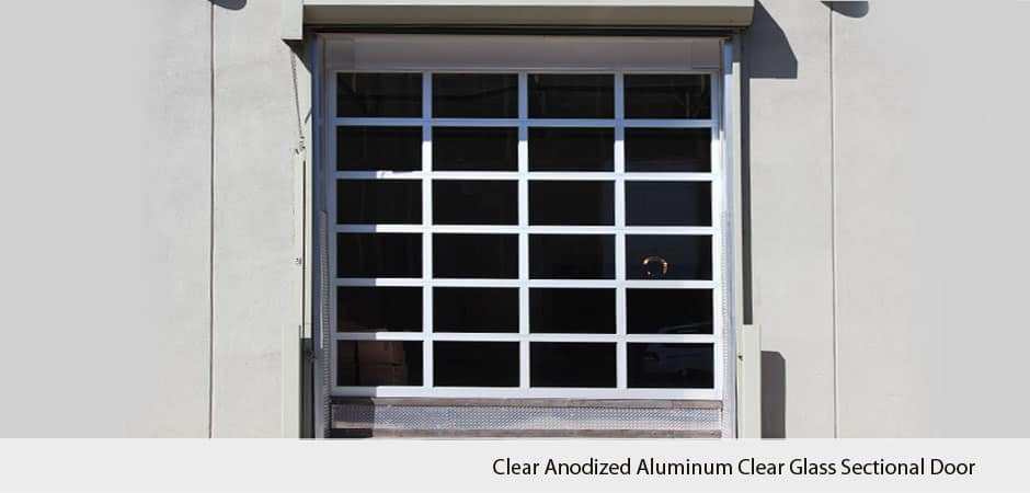 Clear Anodized Aluminum Clear Glass Sectional Door